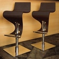 LumiSource Viva 28'' Bar Stool in Dark Brown Wood