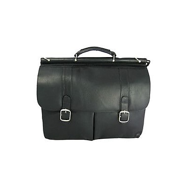David King Dowel Leather Laptop Briefcase; Black