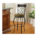 Linon 24'' Curves Counter Bar Stool in Metallic Brown & Brown Wood