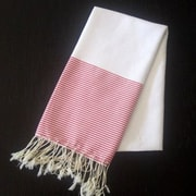 Scents and Feel Fouta Striped Bath Towel; White/Red Stripe