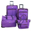 American Flyer Signature Expandable 4 Piece Luggage Set; Purple