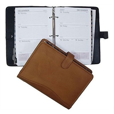 David King 7'' x 10'' 3-Ring Agenda; Tan
