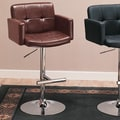 Wildon Home   Colorado City 29'' Tufted Vinyl Barstool with Footrest in Brown