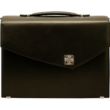 Aaron Irvin Sienna Leather Double Gusset Laptop Briefcase; Black