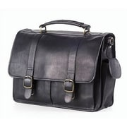 Clava Leather Vachetta Laptop Briefcase in Black