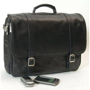 Clava Leather Tuscan Executive Laptop Briefcase in Black
