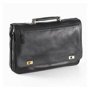 Clava Leather Vachetta Turn Lock Briefcase in Black