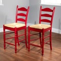 TMS 24'' Ladder Back Stool in Red (Set of 2)
