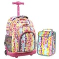 J World Lollipop 2 Piece Kid's Rolling Luggage Set; Squares Neon
