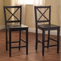 TMS Virginia Cross Back Stool in Black (Set of 2); 24''