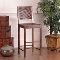William Sheppee Saddler 30'' Woven Leather Bar Stool in Walnut Stain