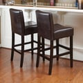 Home Loft Concept Lopez Bonded Leather Counter Stool (Set of 2); Brown