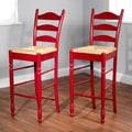TMS 30'' Ladder Back Stool in Red (Set of 2)