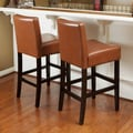Home Loft Concept Lopez Bonded Leather Counter Stool (Set of 2); Hazlenut