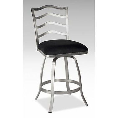 Chintaly 30'' Swivel Memory Return Bar Stool with Ladder Back