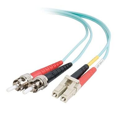 C2G® LC-ST Multimode Fiber Optic Cable, Aqua