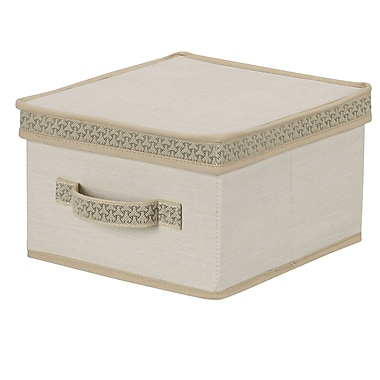 Household Essentials® Decorative Trim Medium Storage Box, Ivory