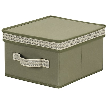 Household Essentials® Decorative Trim Medium Storage Box, Green Olive
