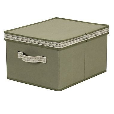 Household Essentials® Decorative Trim Large Storage Box, Green Olive