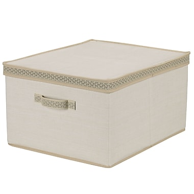 Household Essentials® Decorative Trim Jumbo Storage Box, Ivory