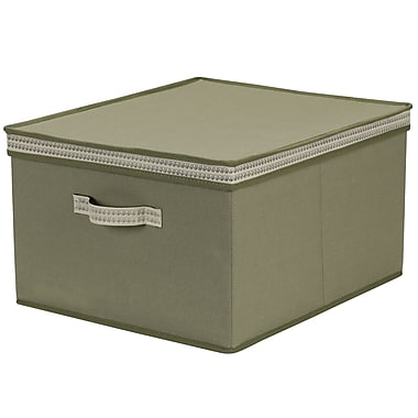 Household Essentials Decorative Trim Jumbo Storage Box, Green Olive