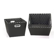 Household Essentials® Two-Toned Medium Tapered Bin, Black/White, 2/Pack