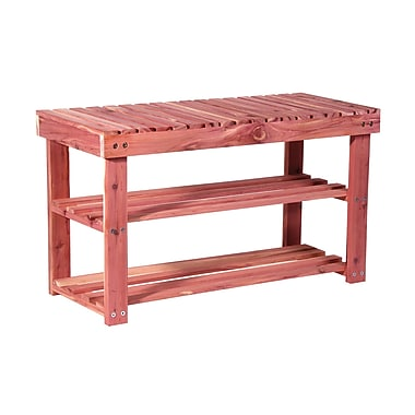 Household Essentials® 2-Tier Cedar Shoe Bench, Red
