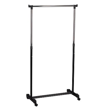 Household Essentials® 41.4in. to 69.8in. Adjustable Rolling Garment Rack, Chrome/Black