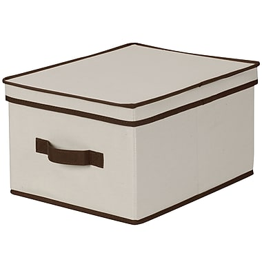Household Essentials® Large Storage Box With Coffee Trim, Natural