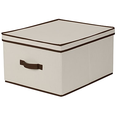 Household Essentials® Jumbo Storage Box With Coffee Trim, Natural