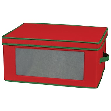 Household Essentials® Holiday Stemware Goblet Chest, Red/Green