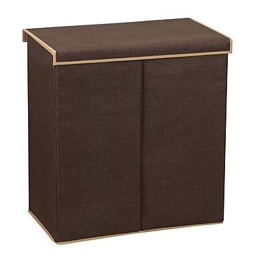 Household Essentials® Double Hamper, Dark Coffee Linen