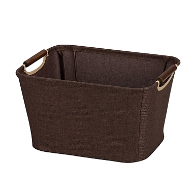 Household Essentials® Tapered Small Bin With Wood Handles, Coffee Linen