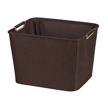 Household Essentials® Medium Storage Bin With Wooden Handle, Coffee Linen