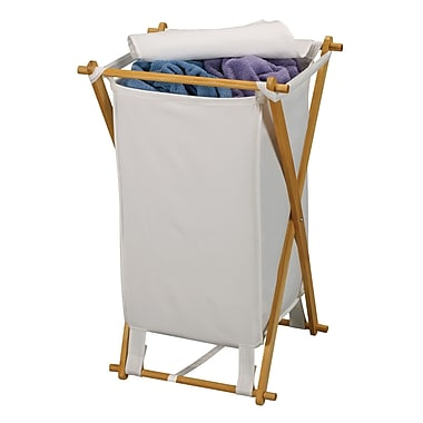 Household Essentials® Wood X-Frame Hamper With Polyester Bag and Lid