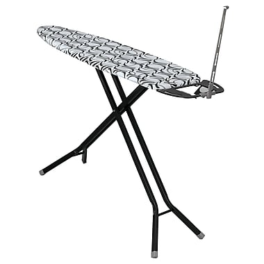 Household Essentials Deluxe 4-Leg Ironing Board with Iron Rest and Cord Minder, Black