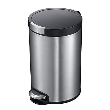 Household Essentials® EKO 5 Ltr Artistic Round Step Waste Bin With Soft Close Lid, Stainless Steel