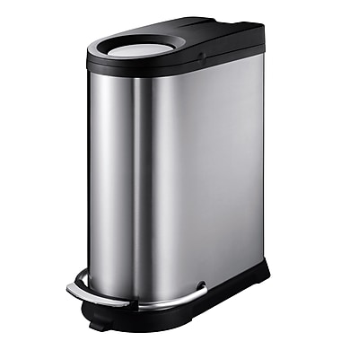 Household Essentials EKO 10.6 gal. Stainless Steel Trash Can with Lid, Silver