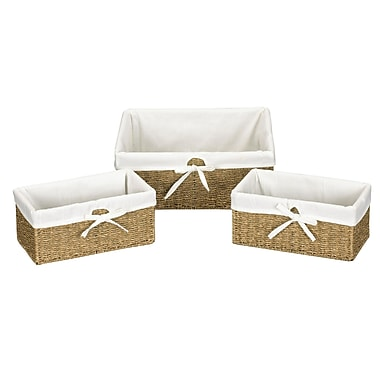 Household Essentials® Woven Seagrass Storage Utility Baskets, Natural, 3/Set
