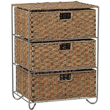 Household Essentials® Woven Seagrass and Rattan Storage Unit Side Table With 3 Drawers, Brown/tan