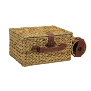 Household Essentials® Banana Leaf Picnic Basket With Wine Caddy For 4 People, Natural