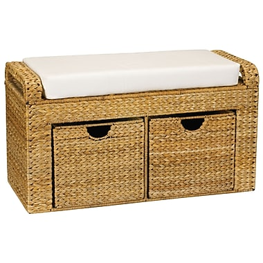 Household Essentials® Banana Leaf Storage Seat With Cushion & 2 Drawers, Natural