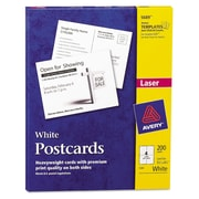 "Avery® 5 1/2"" x 4 1/4"" Postcard For Laser Printers, White, 200/Box"