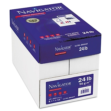 Navigator™ Platinum 24 lbs. Multipurpose Paper, 8 1/2in. x 11in., White, 5000/Carton