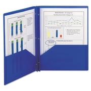 Smead® Letter Poly Two-Pocket Folder With Fasteners, Dark Blue, 25/Box