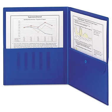 Smead® Letter Poly Two-Pocket Folder With Security Pocket, Dark Blue, 5/Box