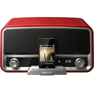 Philips ORD7100R/37 Original Radio Dock Speaker System For iPod/iPhone, Chili Red