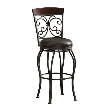 AHB Amelia Mid Back Tobacco Bonded Leather Bar Height Stool, Pepper