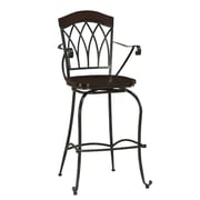 AHB Arielle High Back Wood Bar Height Stool, Espresso