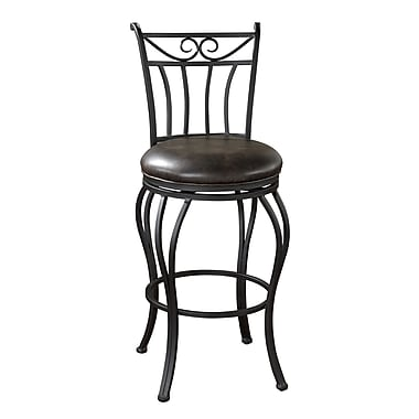 AHB Arvada High Back Leather Bar Height Stool, Tobacco